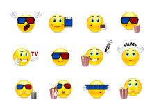 Smilies in a movie. Set of funny beautiful smiles on the topic of cinema Royalty Free Stock Images