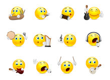 Smilies musical instruments. Set of yellow smiles that play on different types of musical instruments Stock Photo