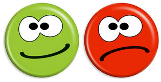 Smilies - positive and negative Stock Photos