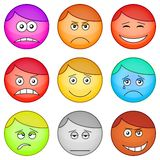 Smilies round, set. Set of the round smilies symbolising various human emotions Stock Image