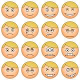 Smilies round, set. Set of the round smilies symbolising various human emotions Royalty Free Stock Image