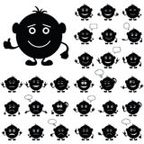 Smilies round, set, black. Smilies, set of round black and white characters, symbolising various human emotions. Vector Stock Photography