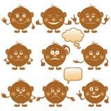 Smilies round, set, brown Royalty Free Stock Photos