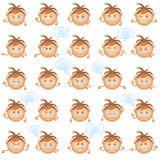 Smilies, set. Set of round smilies with brown hair, symbolising various human emotions on white background Royalty Free Stock Images