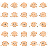 Smilies Set. Set of Funny Round Bald Smilies with Hands, Symbolizing Various Human Emotions and Moods, Isolated on White Background. Vector Stock Photography