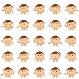 Smilies Set. Smilies, set of round black and white characters, symbolising various human emotions. Vector Royalty Free Stock Photography