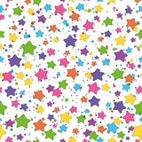 Smilies stars. Seamless background: colored stars smilies on white Stock Photography