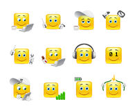 Smilies IT system. Funny and beautiful anime smiles on the topic of IT technologies Stock Image
