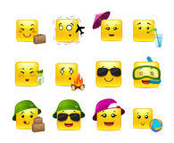 Smilies travelers. Funny and cute square anime emoticons travelers with different things Stock Images