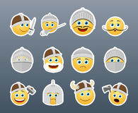 Smilies Vikings and Knights. Funny and cute emoticons Knights and Vikings yellow Stock Image