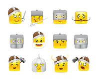 Smilies vikings and knights. Funny and cute square anime emoticons Knights and Vikings yellow Royalty Free Stock Images