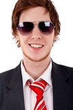Smilig business man with sunglasses Royalty Free Stock Images