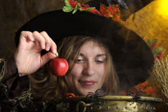 Smiliing witch with apple. Witch giving a poisened apple. Shallow DOF on witch Stock Photos