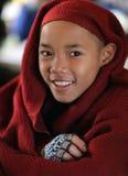Smilimg Buddhist novice, Myanmar Stock Image