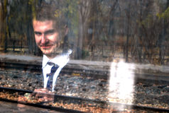Smilimg young man ghost Stock Image