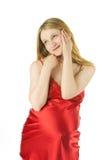Smiline blonde pregnant woman Stock Photo