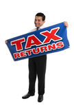 Smiling Accountant or Businessman with sign Stock Images