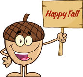 Smiling Acorn Cartoon Character Holding A Wooden Board With Text Happy Fall Royalty Free Stock Photography