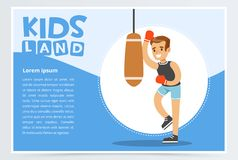 Smiling active boy in red boxing gloves hitting punching bag, kids land banner flat vector element for website or mobile. App with sample te Stock Photos