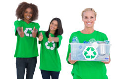 Smiling activist holding recycling box Stock Photography