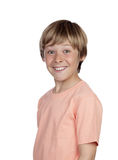 Smiling adolescent with a happy gesture. Isolated on white background royalty free stock images
