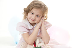 Smiling adorable little blonde girl Royalty Free Stock Photos