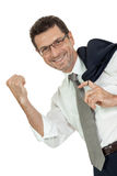 Smiling adult businessman write with pen isolated Royalty Free Stock Image