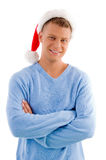 Smiling adult man with christmas hat Stock Photo