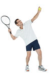 Smiling adult tennis player with racket isolated Royalty Free Stock Photos