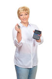 Smiling adult woman with calculator  and key Stock Image