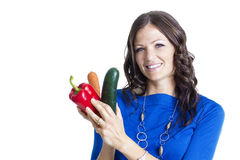 Smiling Adult Woman holding healthy food Stock Photos