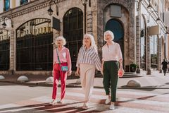 Smiling adult women are walking on streets of megalopolis stock photos