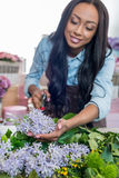 Smiling african american florist holding secateurs and working with flowers Royalty Free Stock Photo