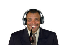 A smiling African-American man with headphones Royalty Free Stock Images