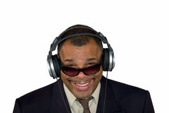 A smiling African-American man with headphones Stock Photo