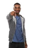 Smiling african american man pointing finger Stock Image