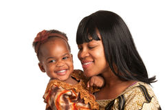 Smiling African American Mom Holding Baby Girl Isolated Royalty Free Stock Photography