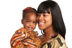Smiling African American Mom Holding Baby Girl Isolated Stock Photo