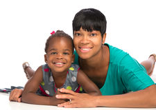 Smiling African American Mom Holding Baby Girl Isolated Royalty Free Stock Images