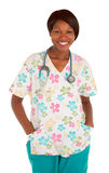Smiling African American Nurse Posing Stock Photo