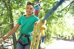 African-American teenage boy climbing in adventure park. Summer camp. Smiling African-American teenage boy climbing in adventure park. Summer camp royalty free stock image