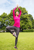 Smiling african american woman exercising outdoors Royalty Free Stock Images
