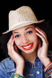 Smiling African American Woman In Hat Portrait Royalty Free Stock Photo