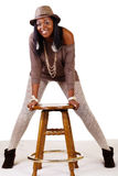 Smiling African American Woman In Hat Stockings Stock Images
