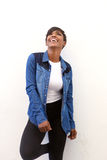 Smiling african american woman looking up Royalty Free Stock Photography