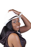 Smiling African American Woman in White Hat Stock Images