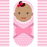 Smiling african baby girl isolated on white background. Vector cartoon mascot. Holiday illustration to Birthday, Baby Shower Stock Photography