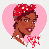 Smiling African pin-up girl Royalty Free Stock Image