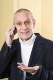 Smiling and Agreeable Man on Phone Royalty Free Stock Image