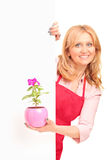 A smiling agricultural woman holding a flower pot Royalty Free Stock Photography